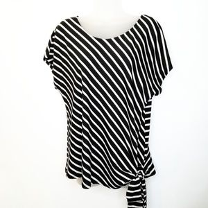 PerSeption Concepts tie waist loose Tee Striped L